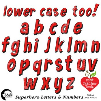 Superhero Clipart Letters and Numbers, Lower Case Alphabet Red, AMB-2442-7