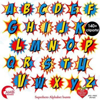 Superhero Clipart, Letters and Numbers MEGA BUNDLE, AMB-1729