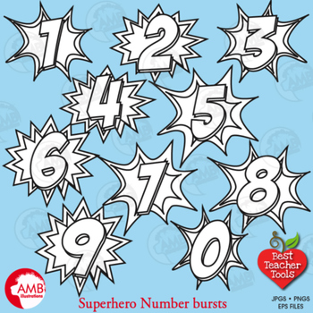 Superhero Clipart Numbers Clipart, Numbers Stamps, Bursts, Numbers, AMB-1342