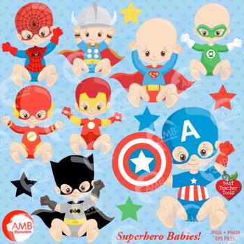 Superhero Clipart, Nursery Clipart, Baby Clip Art, AMB-1337