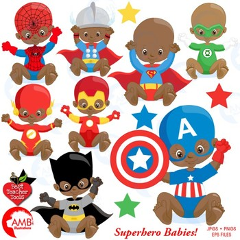 Superhero Clipart, Nursery Clipart, Baby Clip Art, {Best Teacher Tools} AMB-1402