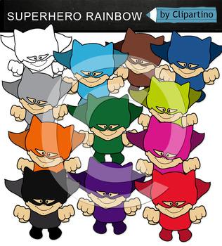 Superhero Clipart Rainbow (flying)