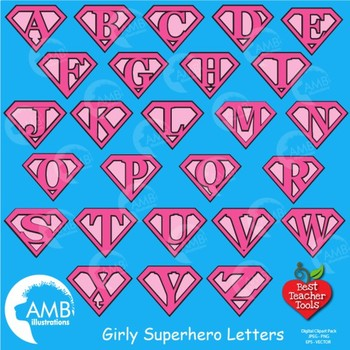 Superhero Letters Clipart, Alphabet in Pinks {Best Teacher