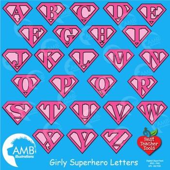 Superhero Letters Clipart, Alphabet in Pinks {Best Teacher Tools} AMB-1883