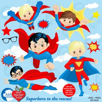 Superhero Clipart, Superhero digital Clipart, Super Hero ...