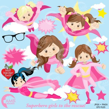 Superhero Clipart, Superwoman Girls in Pink Clipart, AMB-1034
