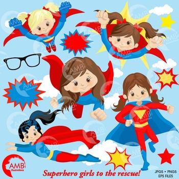 Superhero Clipart, Superwoman Girls clipart, AMB-1033