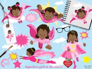 Superhero Clipart, Superwoman Girls clipart, {Best Teacher Tools} AMB-1801