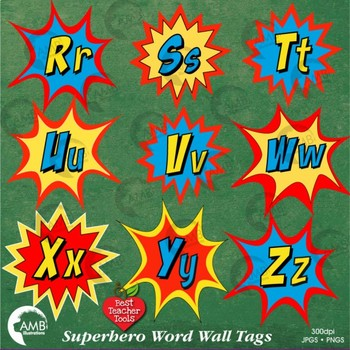 Superhero Clipart, Word Wall Tags Clipart, Letters Bursts, AMB-2219
