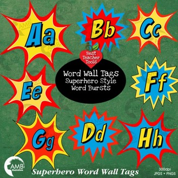 Superhero Clipart Word Wall Tags Letters Bursts AMB 2219