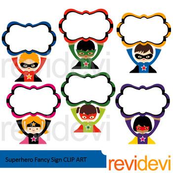 Superhero Clipart bundle - Superhero sign board