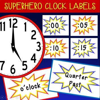 Superhero Clock Labels!