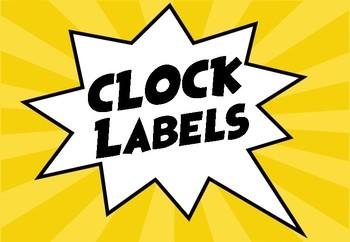 Superhero Clock Labels