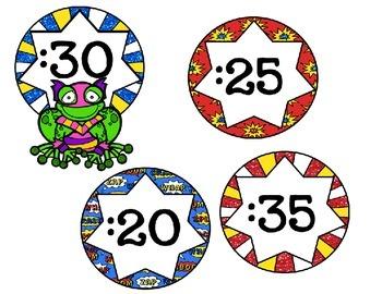 Superhero Theme Clock Labels-Classroom Decor