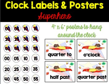 Superhero Clock Labels and Posters