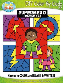 Superhero Color By Code Clipart {Zip-A-Dee-Doo-Dah Designs}