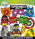 Superhero Color By Code Shapes Clipart {Zip-A-Dee-Doo-Dah Designs}