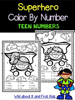 Superhero Color By Number for teen numbers