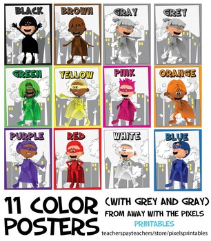 Superhero Color Posters US / UK Spelling, Printable Posters for Teachers