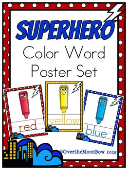 Superhero Color Words Poster Set
