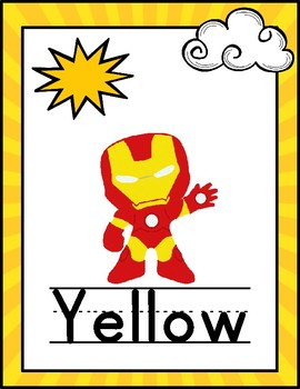 Superhero Color Words Posters