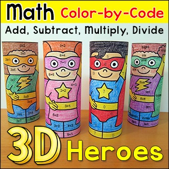 Superhero Differentiated Color by Math Facts - End of the Year Activities