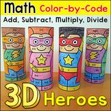 Superhero Differentiated Color by Number Math Activity: End of the Year Activity