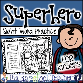 Back to School Superhero Color-by-Sight Words Activity Sheets (5 Total)