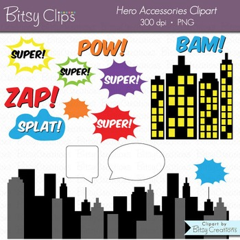 Superhero Comic Accessories Clipart Commercial Use WITH Black and White Outlines
