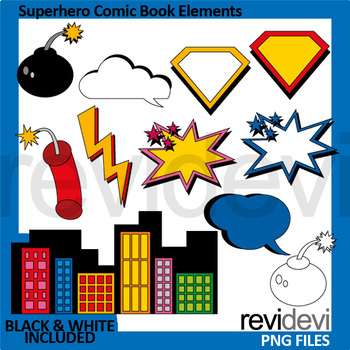 Superhero Comic Book Elements Clip Art