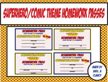 Superhero/Comic Book Theme Homework Passes