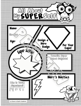 """Super Hero Comic Book Themed """"All About Me"""" - Printables and Posters"""