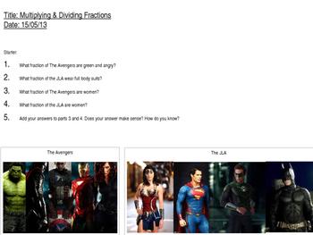 Superhero Comics Fractions Lesson