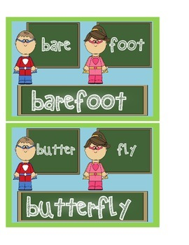 Superhero Compound Word Sort Game/Bulletin Board Posters