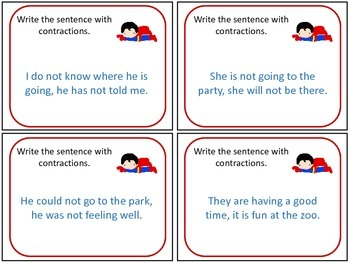 Superhero Contraction Task Cards