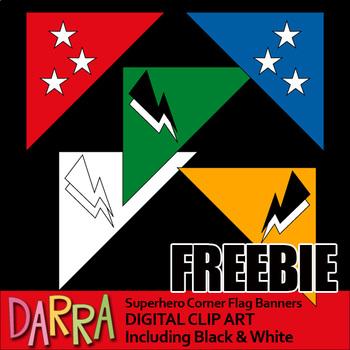 Superhero Corner Flag Banners Clip Art Free Download