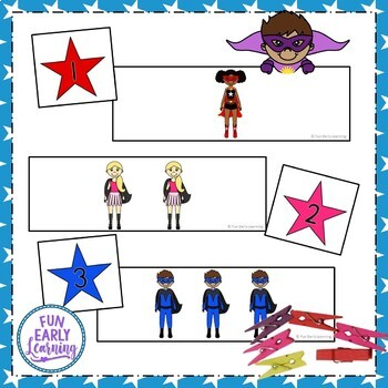 Superhero Count and Match - Math and Numbers Activity