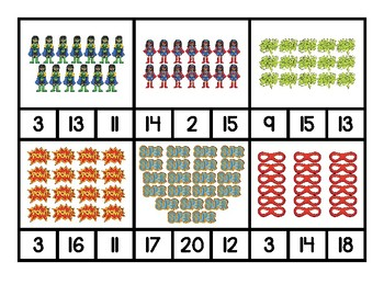 Superhero Counting Clip Cards for Numbers 1-20