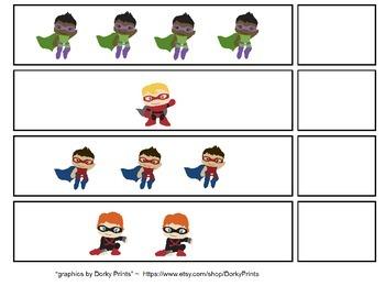 Superhero Counting File Folder Games