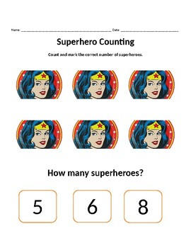 Superhero Counting Worksheets