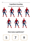 Superhero Counting Worksheets