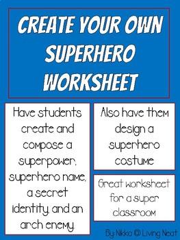 Superhero Creation Worksheet