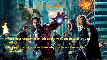 Superhero Creative Writing Assignment