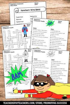 Superheroes Back to School Crossword Puzzle, Superhero Theme Classroom Activity