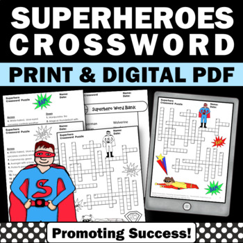 Superhero Theme Crossword Puzzle, Early Finishers by Promoting Success
