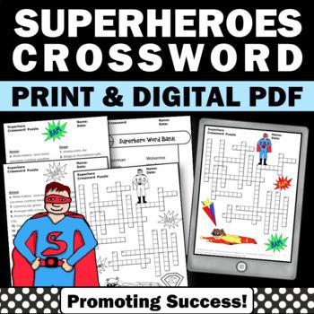 picture regarding Superhero Crossword Puzzles Printable named Superhero Actions, Vocabulary Crossword Puzzle, Superhero Topic
