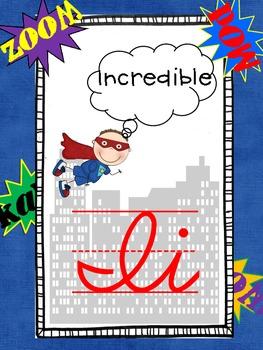 Superhero Cursive ABC line