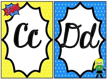 Cursive Alphabet Line: Superhero Themed