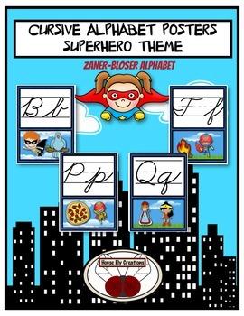 Superhero Cursive ZANER-BLOSER Alphabet Posters