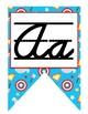 Superhero D'Nealian Cursive Alphabet banner